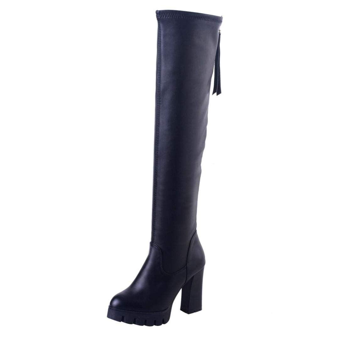 DENER Women Ladies Girls Long Boots,Chunky Block Heel Zipper Over The Knee Wide Calf Stretchy Thigh High Comfortable Booties (Black, 39)