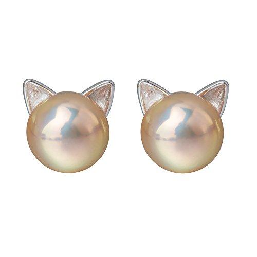 - S.Leaf Cat Ear Stud Earrings Freshwater Baroque Pearl Stud Earrings Sterling Silver Ear Studs