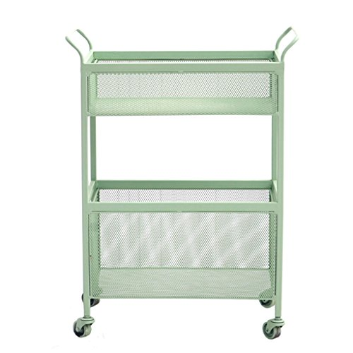 He Xiang Firm Green double store shelves trolley shelves with a pulley handrails floor shelves wrought iron racks living room storage shelves by He Xiang Firm (Image #6)