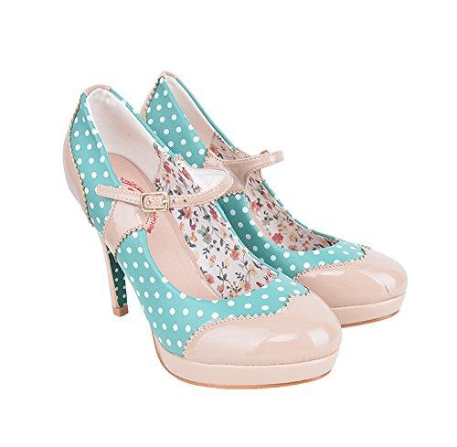 Dancing Days MARY JANE Polka Dots Riemchen Vintage Pumps High Heels Rockabilly Dunkles Mint mit Dots