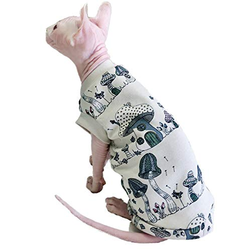 Khemn Luxury 丨HANDMADE 丨100% Cotton Skin-Friendly White Mushroom House Print Cat Shirt Cat Vest-Best for Hairless Cat (L)