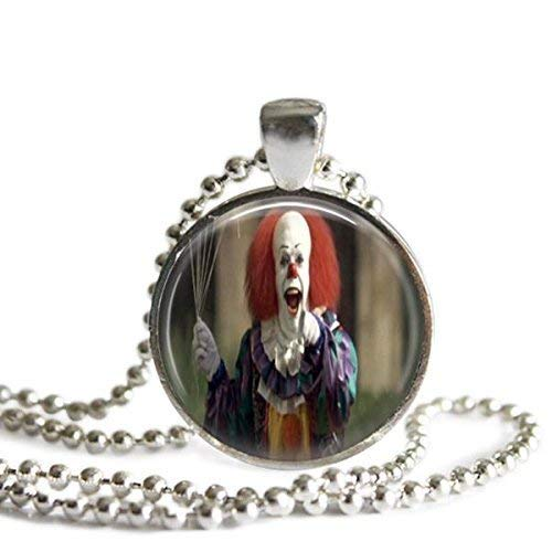 Pennywise 1 Inch Silver Plated Picture Pendant Stephen King's It Necklace