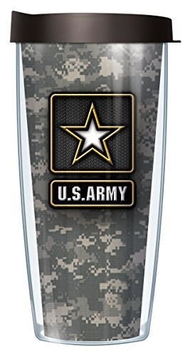 US Army Star on Camo 22 Oz Traveler Tumbler Mug with Lid (Mug Army Travel)