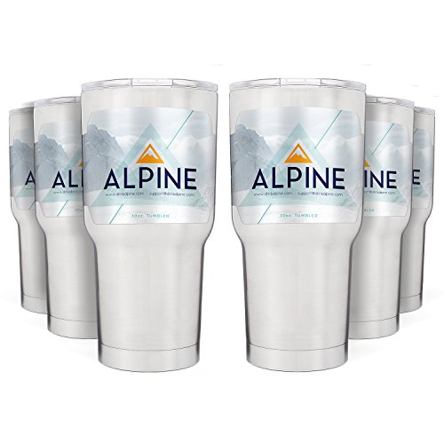 Alpine 30 oz. Tumbler Pack of 6 - Best Double Insulated Stainless Steel Tumbler Cup - Keeps Liquid Hot or Cold For Hours - Durable Sweat-Free Design With Tritan Lid by Alpine