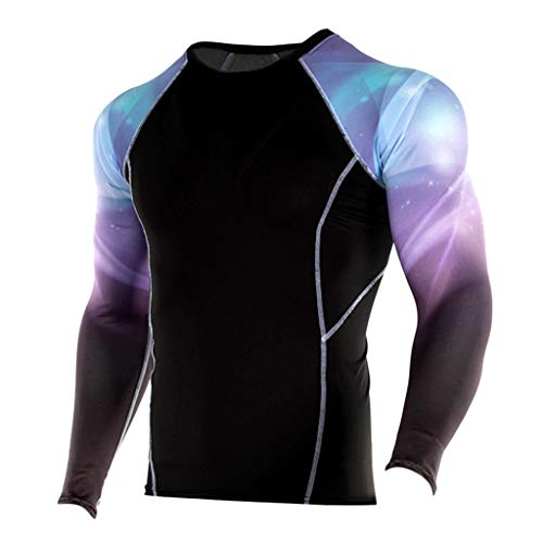 Outique Quick-Dry Men's Long Sleeve Cycling Jerseys Fashion Yoga Fitness Soft T-Shirt Sports Printing Blouse