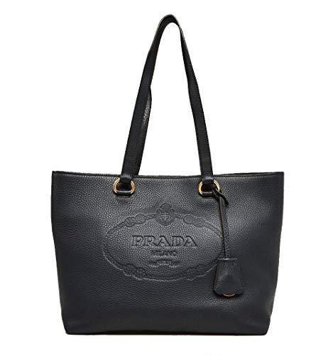 (Prada Black Vitello Daino Calfskin Leather Shopping Tote Bag 1BG100)