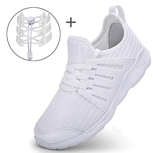 LakeRom Girls Shoes for Kids Boys Sneakers School Uniform White Shoes Casual Sport Shoes Give a Pair of Laces ()