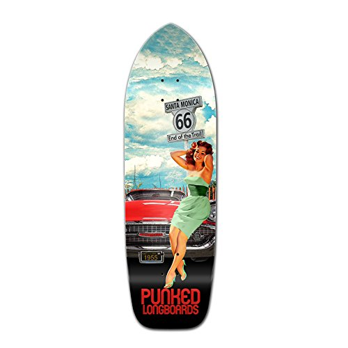 Yocaher Punked Route 66 Series RTE 66 Longboard Complete Skateboard - available in All shapes (Deck - Old school) Old School Pool