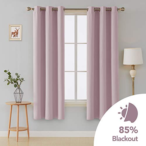 Deconovo Room Darkening Thermal Insulated Blackout Grommet Window Curtain Panels for Bedroom Set of 2 Lavender 42x84 Inch
