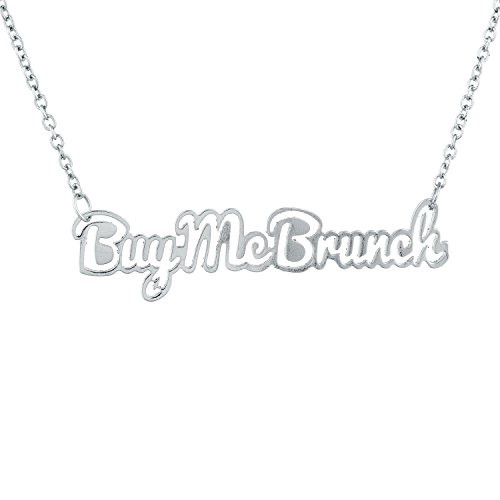 Lux Accessories Silver Tone Buy Me Brunch Name Plate Verbiage Necklace