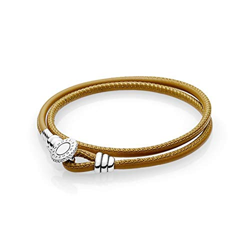 Pandora Moments Golden Tan Double Leather Bracelet With Clear CZ ()