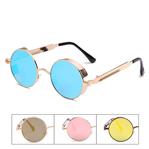 UV la Sunglasses Steampunk Care Style en Rond métal de Alloy Cadre Royalmal Zinc Protection Lunettes Soleil Eye Les Polarized 1 Contre Poitrine et qXpxnTvOw