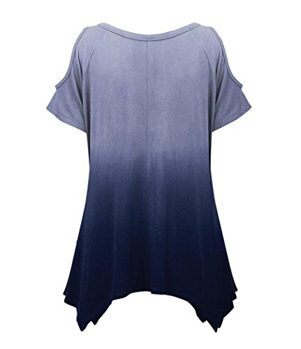 NiSeng Mujeres Gradiente de color Casual Hem Irregular Túnica Manga Corta Mujer Estampados Slim T-Shirt Tops Blouse Camiseta Off The Shoulder Azul Oscuro