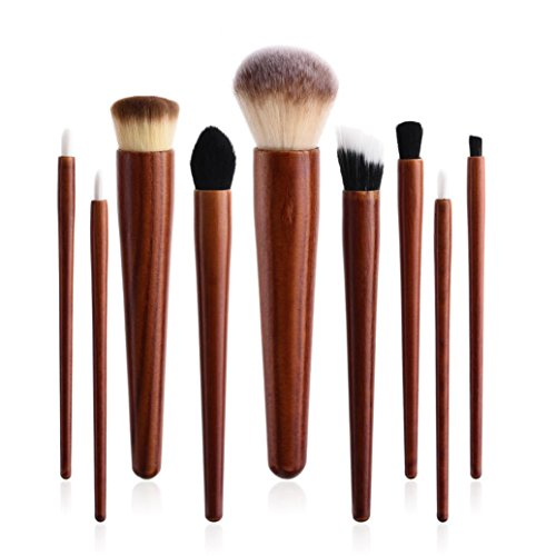 Mahogany Soft Foundation (Makeup Brush Set,Putars 9PCS Professional Women Sexy Soft Material Cosmetic Makeup Brush Set For Perfect Application,For Eyebrow Eyeliner, Blush, Foundation, Contour and Blending Brown)