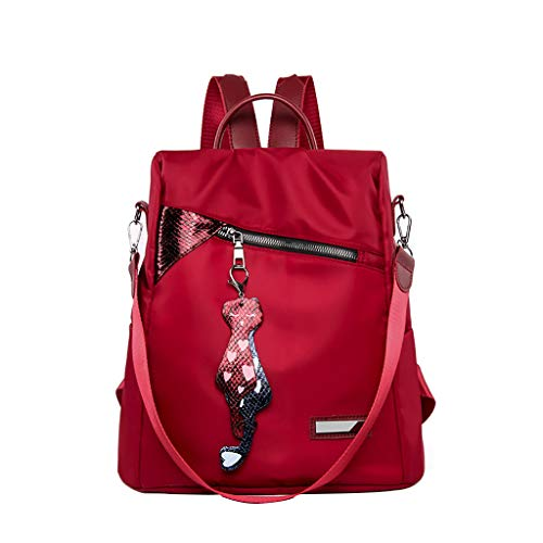 SMALLE ◕‿◕ Women Fashion Mini Backpack Purse, Crossbady Shoulder Bag Cute Quilted Nylon Back Pack Purses for Girls Red