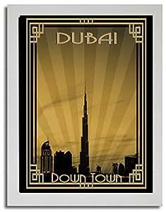 Dubai Skyline Down Town - Sepia With Gold Border F03-m (a1) - Framed