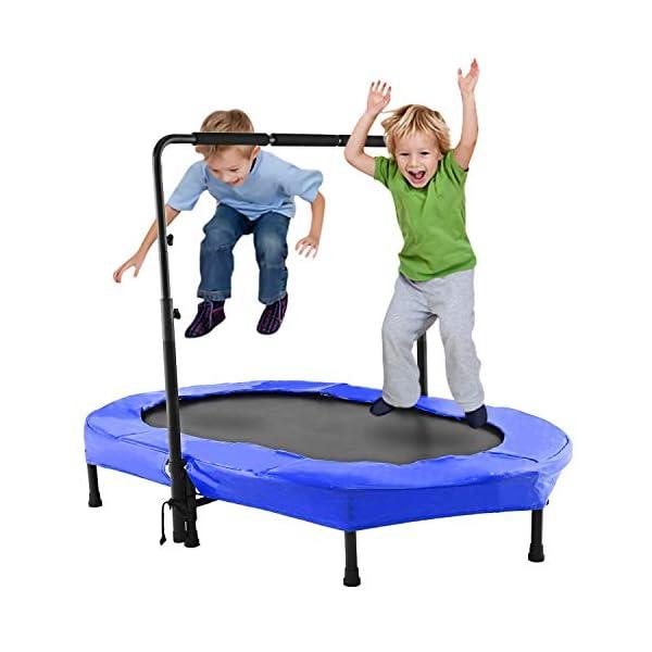 Bunao Trampoline, Mini Trampoline Pliable Jumping Fitness pour Enfants et Adultes, Poignée Réglable, Trampoline Intérieur/Extérieur accessoires de fitness [tag]