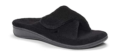 70133419bcf Vionic Women s Indulge Relax Slipper - Ladies Adjustable Slippers with  Concealed Orthotic Arch Support Black 5M