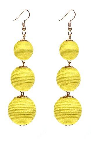 - VK Accessories Thread Ball Dangle Earrings Thread Dangle Earrings Soriee Drop Earrings Beaded Ball Ear Drop Yellow