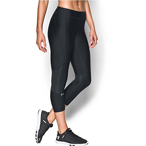 Under Armour Women's HeatGear Armour Crop, Black/Black, Medium