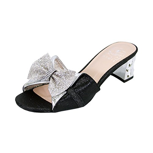 Floral Farrah Women Wide Width Rhinestone Bow Slip-On Pretty Ornate Block Heel Sandals Black/Silver - Bow Rhinestone Pretty