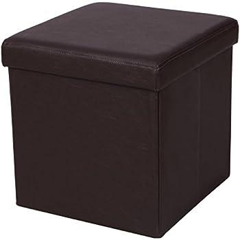 "SONGMICS Faux Leather Folding Storage Ottoman Cube Foot Rest Stool Seat 15"" x 15"" x 15"" Brown ULSF10B"