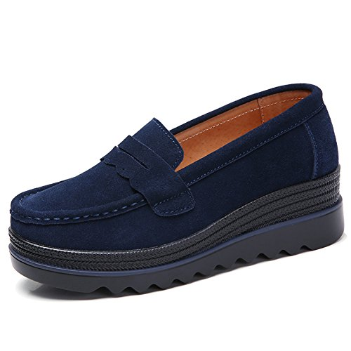 HKR Womens Wide Platform Shoes Casual Slip On Penny Loafers Comfortable Wedge Sneakers Navy Blue US 7.5 MH8775shenlan39