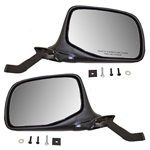 Manual Side View Paddle Type Mirrors Black & Chrome Driver and Passenger Replacement for Ford SUV Pickup Truck F7TZ17683DAB ()