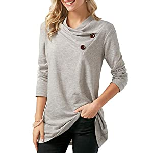 FreshTrend Grey Melange Full Sleeve Round Neck Tshirt for Women