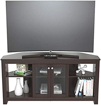 Inval MTV-19419 - Mueble esquinero para televisor con Puertas de Cristal, Color marrón: Amazon.es: Juguetes y juegos