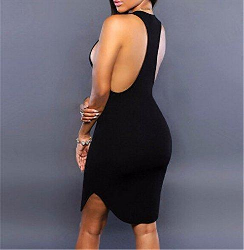 QIYUN.Z Las Mujeres Atractivas Adelgazan Sin Respaldo Sin Mangas Mini Vestido Bodycon Formal Del Partido Clubwear Negro