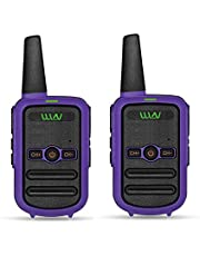 WLN KD-C52 FRS GMRS Walkie Talkie USB Chargeable Mini Handheld Two Way Radio for Kids Adults (1 Pair) (Purple)