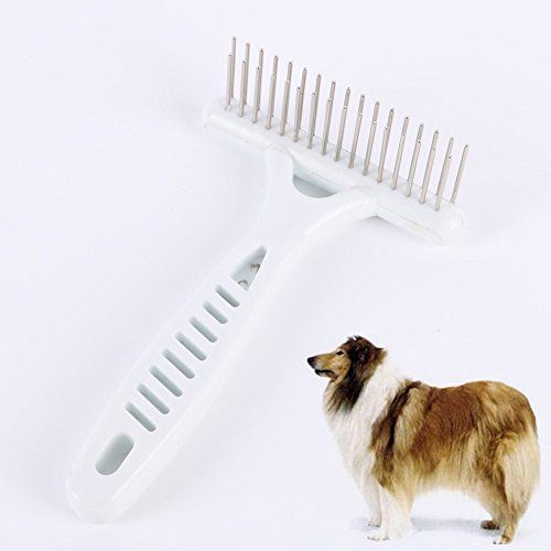 KAYI Gentle Nail Rake Double Row Steel Pins Brush Pet Plastic Hair Grooming Trimmer Rake Comb