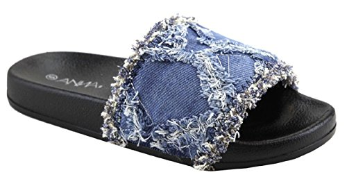 Anna Polly-39 Mujer Distress Frayed Slides Sandalia Flip Flop Denim Azul Azul