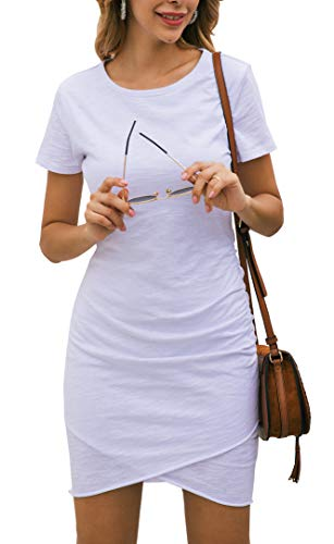 BTFBM Women's 2019 Casual Crew Neck Ruched Stretchy Bodycon T Shirt Short Mini Dress (104White, Small)