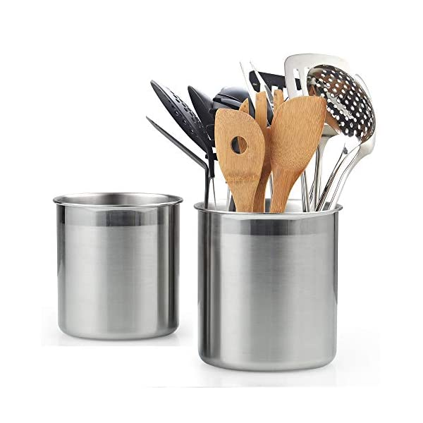 Cook N Home Stainless Steel Utensil Holder Jumbo 2PC set, 5.5-inch x 6.3-inch and 6.3-inch x 7.08-inch, Silver 1