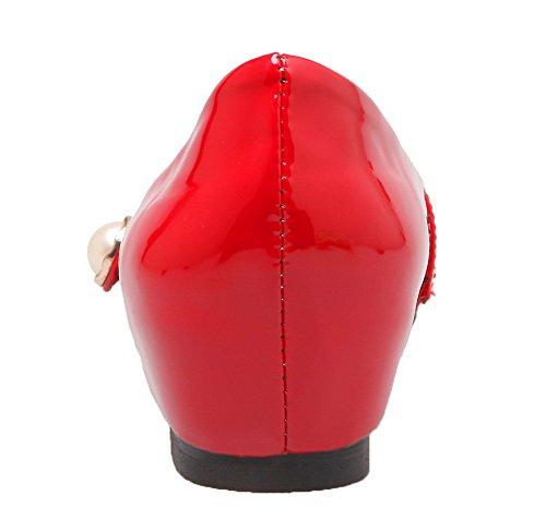 Tirare Tonda di Flats Tacco Punta Pelle Ballet Maiale Rosso Basso VogueZone009 Donna xRYIpp
