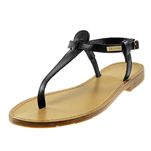 Angkorly Women's Fashion Shoes Sandals Flip-Flops - t-Bar - Ankle Strap - Golden - Thong Block Heel 1.5 cm Black