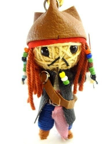 DistiKem(TM) Jack Sparrow Voodoo String Doll Key Chain Handmade Pirates Of the Caribbean