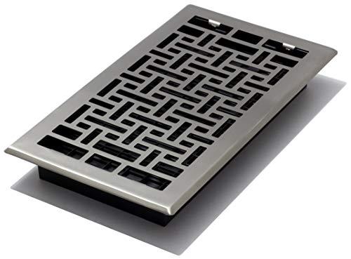 Decor Grates AJH612-NKL Oriental Floor Register, 6-Inch by 12-Inch, Nickel (Floor Nickel Plated Steel Brushed)
