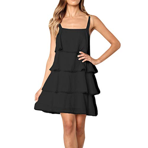 Ruffle Bed Jacket - Shisay Women's Beach V Neck Sleeveless Ruffle Tiered Swing Strap Casual Short Dress Black