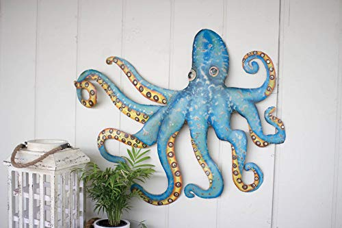 Kalalou Hand Hammered Recycled Metal Octopus Wall Hanging, One Size, Multicolored