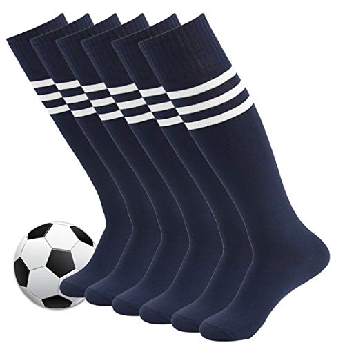 Baseball Socks,Fasoar Mens Womens Athletic Long Tube Knee High Team Socks 6 Pairs Navy Blue Stripe (Womens Rugby Navy)
