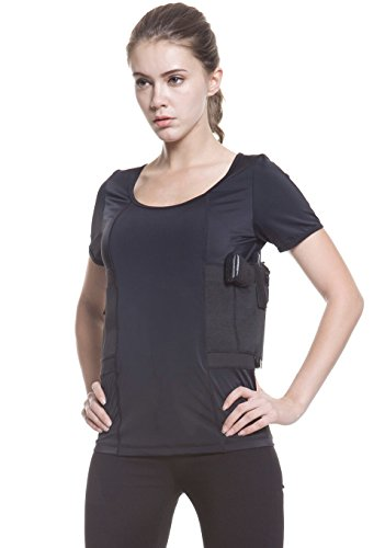 Graystone Holster Shirt Scoop Neck Concealed Carry Clothing For Women - Deep Concealment Compression CCW Clothes (Black, X-Large)
