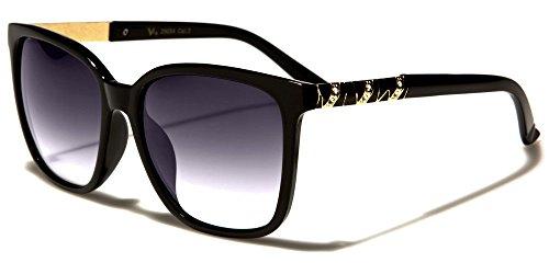 NEUF VG Designer classique mode femme lunettes de soleil - COMPLET UV400 Protection GRATUIT beachhutsunglasses microfibre poche inclus noir / verre noir