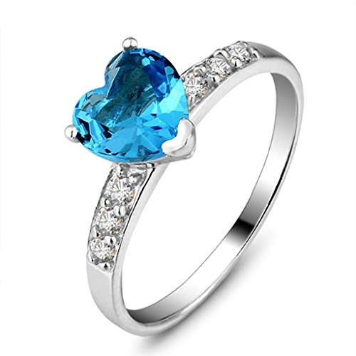Daesar Silver Plated Engagement Rings Heart Cut Ocean Blue Rhinstone Wedding Rings - Mean Day Does Free 2 Shipping What