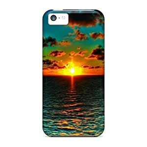 For Iphone Case, High Quality Beautiful Orange On Green Ocean Sunset For Iphone 5c Cover Cases