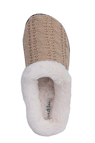Beverly Rock Womens Kabel Knit Pluche Faux Fur Scuff Huis Pantoffel Latte