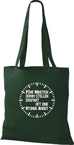 De Verde Tela Bolso Para Shirtstown Mujer Algodón BpPzzq