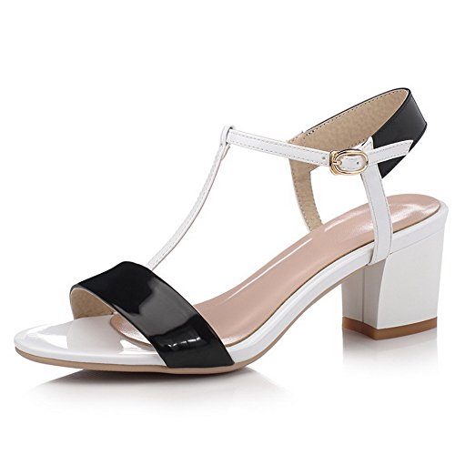 AllhqFashion Womens Soft Material Open Toe High-Heels Buckle Assorted Color Sandals Black YIm6Uv